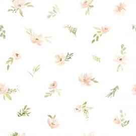 Papier peint Fleurs roses orangées éparses Lilipinso