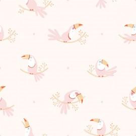 Papier peint Toucans rose pastel Lilipinso