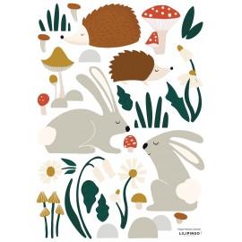 Stickers Hérissons, lapins, végétaux Lilipinso