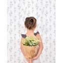 Papier peint vintage fleurs de camomille fond blanc Lilipinso