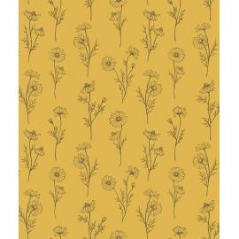 Papier peint vintage fleurs de camomille fond jaune Lilipinso