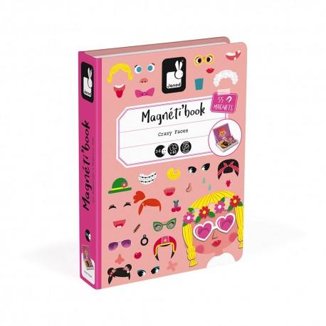 Magnéti'book Crazy Faces fille Janod 55 magnets