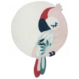 Tapis enfant Tropica perroquet rose Lilipinso