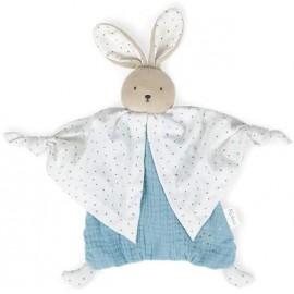 Doudou lapinou bleu coton bio Kaloo