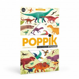 Poster géant et 32 stickers dinosaures Poppik
