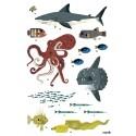 Poster géant et 59 stickers Animaux des océans Poppik