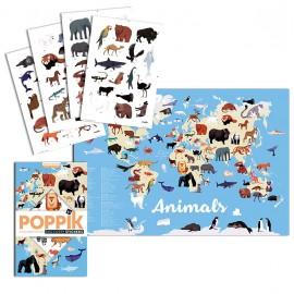 Poster géant et 67 stickers Animaux du monde Poppik