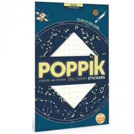Poster carte du ciel + 640 stickers étoiles phosphorescentes Poppik