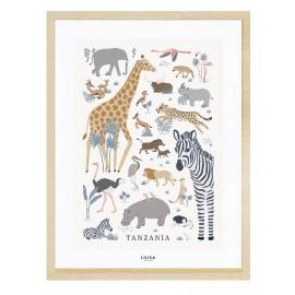 Affiche encadré animaux de la jungle Lilipinso