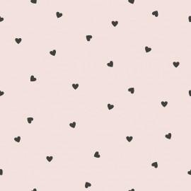 Papier peint Mini coeurs noirs sur fond rose Lilipinso