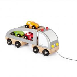 Camion en bois Janod avec remorque transportant 3 petits bolides