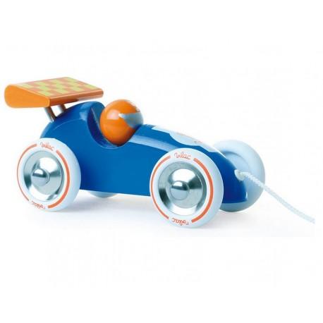 Voiture de course à trainer bleue et orange Vilac
