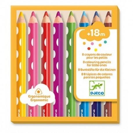 8 crayons de couleur pour les petits Djeco