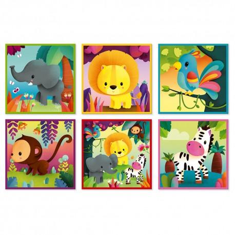 9 cubes Kubkid animaux de la jungle Janod