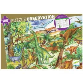 Puzzle d'observation Dinosaures et livret Djeco