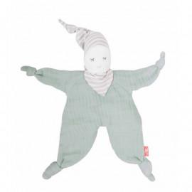 Doudou bio poupée souple vert menthe Kikadu