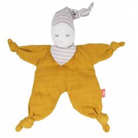 Doudou bio poupée souple moutarde Kikadu