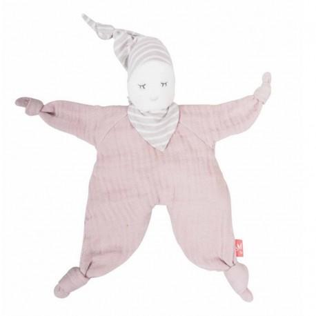 Doudou bio poupée rose pâle Kikadu
