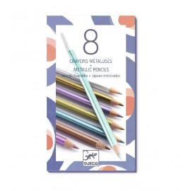 8 crayons de couleurs métalliques Djeco