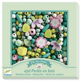 450 Perles en bois Feuilles et fleurs Djeco
