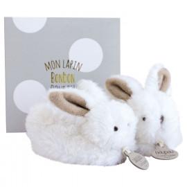 Coffret naissance chaussons lapin bonbon taupe Doudou et Compagnie
