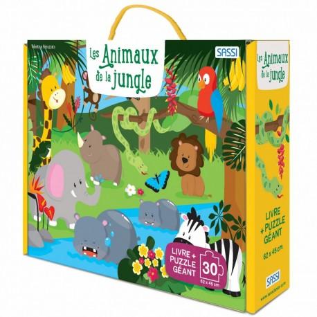 Livre + puzzle géant Les animaux de la jungle Sassi Junior
