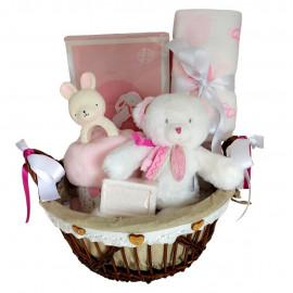 Panier naissance Ourson Attrape-rêves rose et blanc
