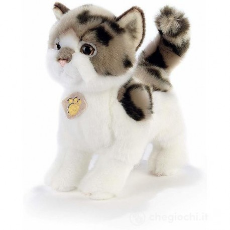 Peluche chat blanc et marron Plush and Company