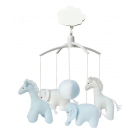 Mobile Musical Girafe et Elephant Bleu et Blanc Trousselier