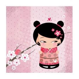 Tableau enfant Kokeshi Rose