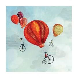 Tableau enfant Cyclistes in volo