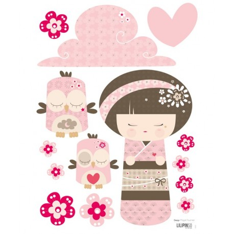 Sticker Kokeshi Rose