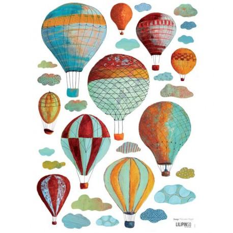 Sticker Nuages et montgolfières