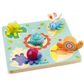 Puzzle encastrement tortue et amis Lilo Djeco