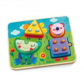 Puzzle d'encastrement Kikou plok Djeco
