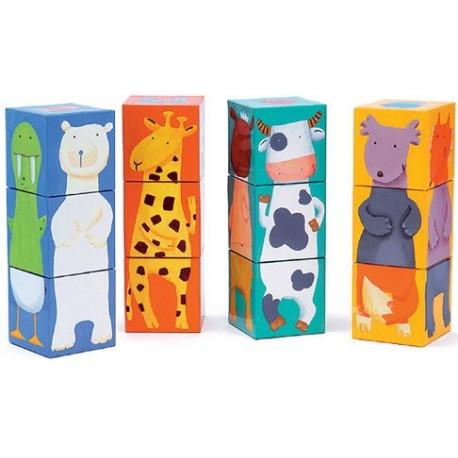 12 Cubes puzzle animaux Djeco