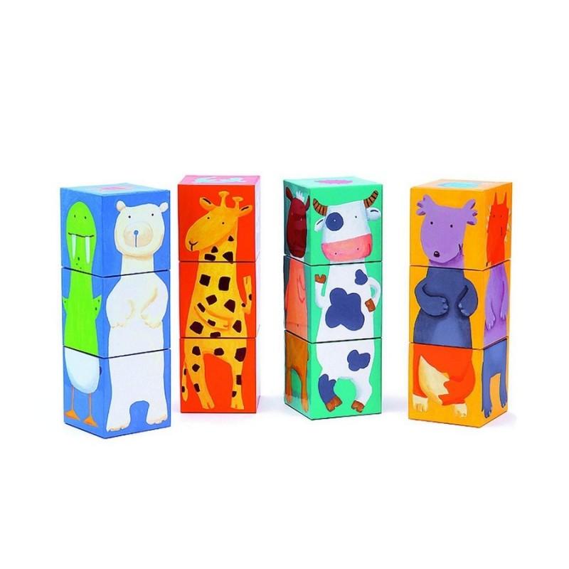cubes djeco animaux puzzle carton. Black Bedroom Furniture Sets. Home Design Ideas