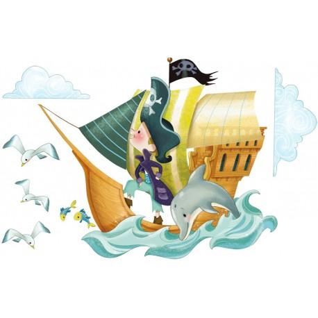 Sticker bateau de pirates emmanuelle colin - Chambre enfant pirate ...