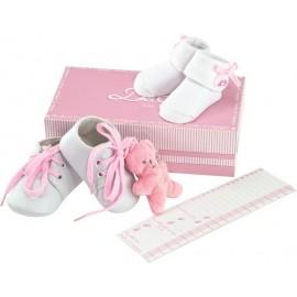 Coffret chaussures, chaussettes + doudou rose et pédimètre Doudou et Compagnie