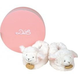 Chaussons avec hochet agneau rose