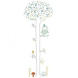 Stickers XL Arbre forêt hibou et champignons