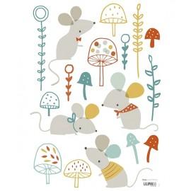 Sickers Souris et champignons forêt Lilipinso