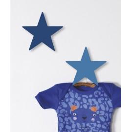 Patère en bois étoiles bleus Lillipinso