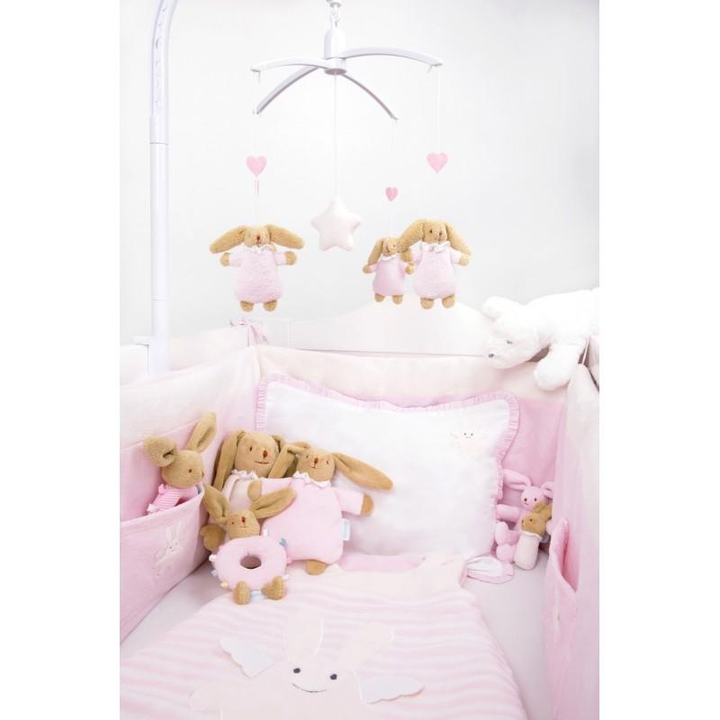 tour de lit complet ange lapin rose trousselier. Black Bedroom Furniture Sets. Home Design Ideas