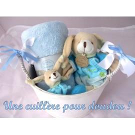 Panier naissance Pinou Lapin bleu