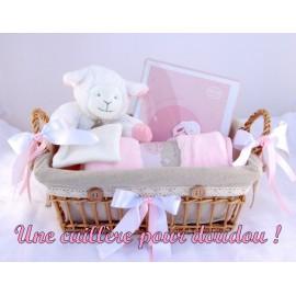Panier naissance agneau rose