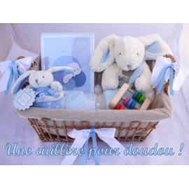 Panier naissance prestige Lapin bonbon bleu