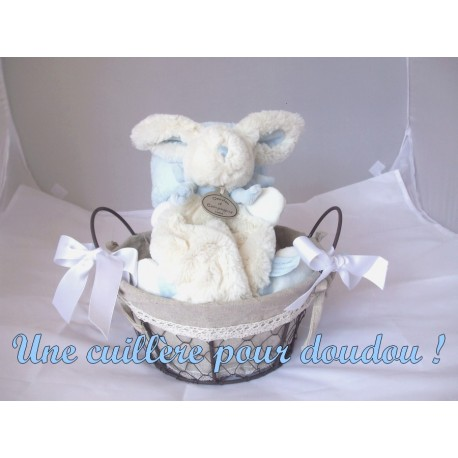 panier de naissance bonbon bleu ; cadeau bébé personnalisable !