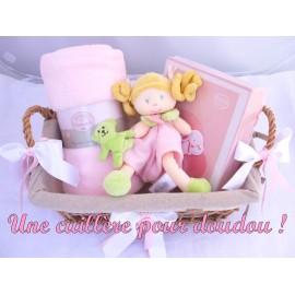 Panier naissance Demoiselle rose