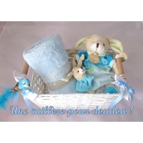 Panier naissance Lapin et oiseau bleu